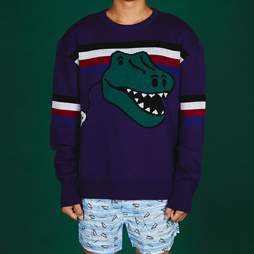 [MINU][WOOL 100%]Dino Toy sweater[Purple]