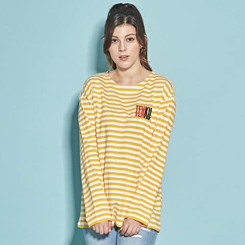 [TENKU] 18SS STRIPE TENKU LOGO T-SHIRT (YELLOW)