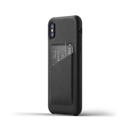 [무쪼] Full Leather Wallet Case for iPhone X - Black