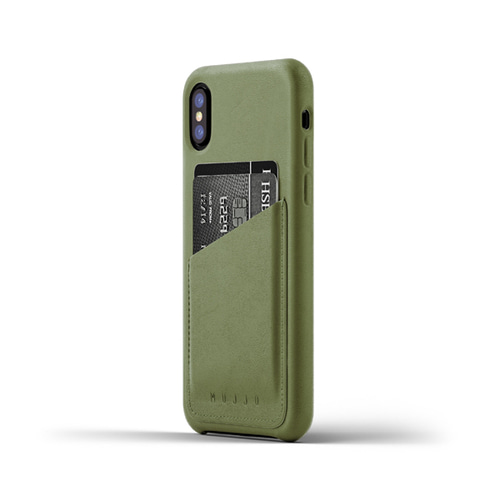 [무쪼] Full Leather Wallet Case for iPhone X - Olive