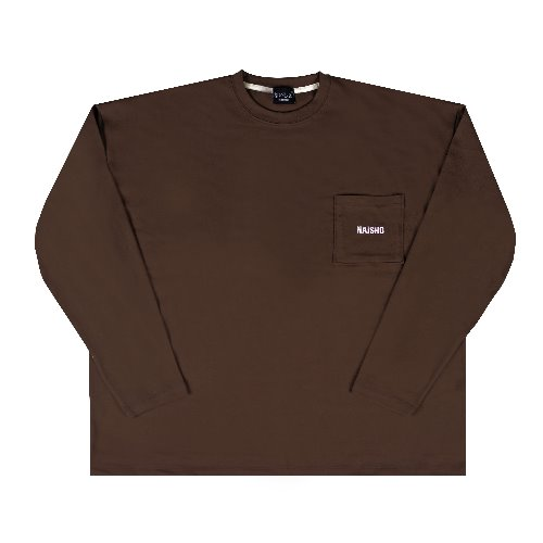 [나이쇼] Simple pocket logo T-shirt (Brown)