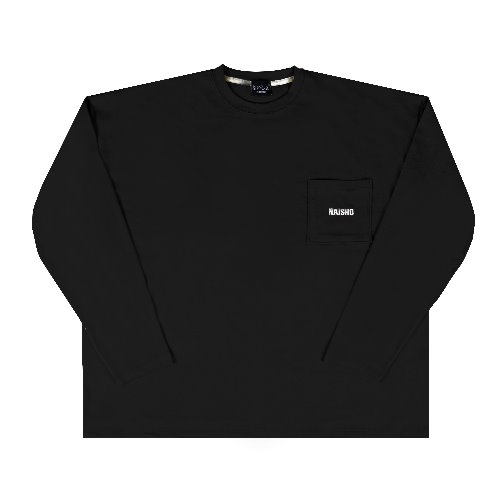 [나이쇼] Simple pocket logo T-shirt (Black)