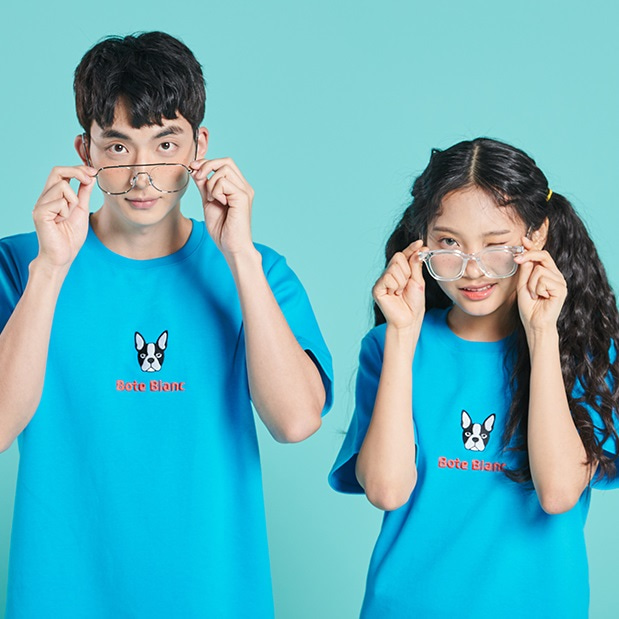 [보테블랑] DOUBLE LOGO T-SHIRT (CYAN BLUE)